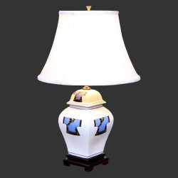 Product ID : 6969 - Category : Lighting - Product Name : Ceramic Table Lamp white Chinese Dress Pattern