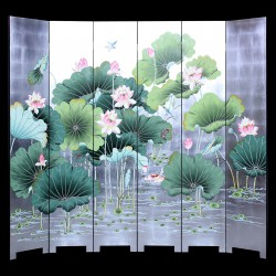 Product ID : 7074 - Category : Screen - Product Name : Silver Background Lotus and Fishes Lacquer Painted Folding Screen Room Divider 6 Panels