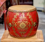 Product ID : 6756 - Category : Other Decor - Product Name : Wooden Double Side Leather Drum with Tibetan Painting