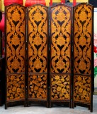 Product ID : 6712 - Category : Screen - Product Name : 4 Panels Back and Gold Pattern Folding Screen