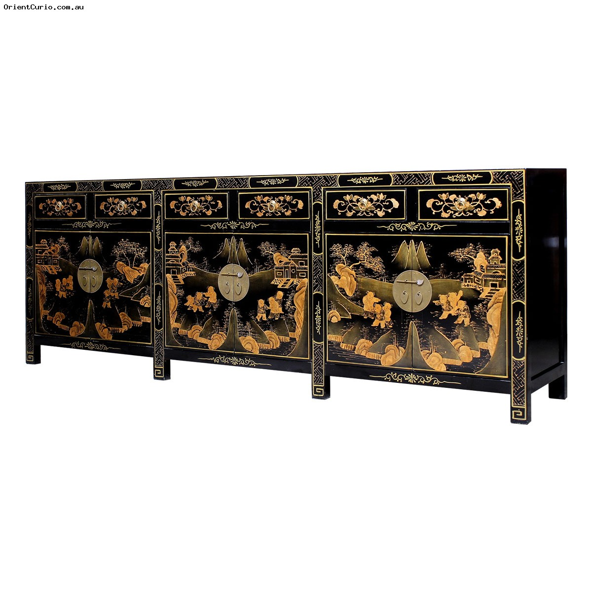 Picture of: Black Lacquer Gold Painted Long Buffet Sideboard With 6 Drawer 6 Door Orient Curio Asian Furniture Home Decor Melbourne