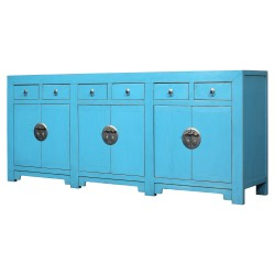Product ID : 7106 - Category : Sideboard-Long - Product Name : Aqua Lacquer Painted Long Buffet Sideboard with 6 Drawer and 6 Door