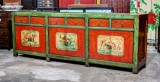 Product ID : 6822 - Category : Sideboard - Product Name : Vintage Chinese Green and Red Lacquer Painted Long Buffet Sideboard with 6 Drawer and 6 Door