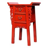 Product ID : 6978 - Category : Small Cabinet - Product Name : Chinese Altar Style Red Lacquer Painted Small Site Table with 2 Drawers