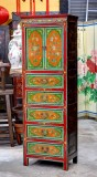 Product ID : 6550 - Category : Wardrobe - Product Name : Tibetan Painting Mini Wardrobe 2 Door 5 Drawer