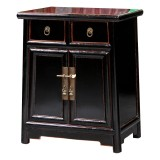 Product ID : 6703 - Category : Small Cabinet - Product Name : Wooden Black Lacquered Bedside Cabinet 2 Drawer 2 Door