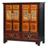 Product ID : 7090 - Category : Sideboard - Product Name : Chinese Style 4 Doors 2 Drawers Sideboard with Antique Woodcarving Panels