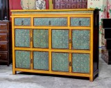 Product ID : 6905 - Category : Long Sideboard - Product Name : Orange and Green Pattern Wooden Sideboard 5 Drawer 2 Door