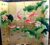 Product ID : 6482 - Category : Screen - Product Name : Gold Background 8 Koi Fish and Lotus Hand Painted Room Divider Screen