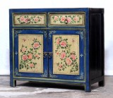 Product ID : 7065 - Category : Sideboard - Product Name : Chinese Blue and Yellow Lacquer Painted Side Cabinet 2 Drawers 2 Doors