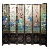 Product ID : 7109 - Category : Screen - Product Name : Hand Painted 6 Panels Room Divider Folding Screen with Gold Background and Flowers Birds Pattern