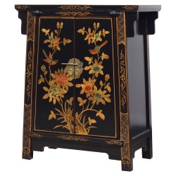 Product ID : 6771 - Category : Side Cabinet - Product Name : Chinese Black Lacquer Gold Painted Side Cabinet
