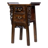 Product ID : 6977 - Category : Small Cabinet - Product Name : Chinese Altar Style Dark Brown Small Site Table with 2 Drawers