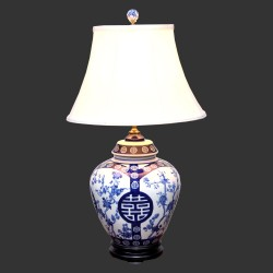 Product ID : 6933 - Category : Lighting - Product Name : Blue and White Ceramic Table Lamp with Double Happiness and Flower Pattern