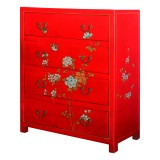 Product ID : 6441 - Category : Sideboard-Short - Product Name : Red Leather Wrap and Painted Tallboy Cabinet with 4 Drawer
