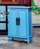 Product ID : 6850 - Category : Bedside Table - Product Name : Blue Lacquer Wooden 2 Doors Side Cabinet