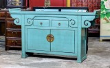Product ID : 6814 - Category : Sideboard - Product Name : Chinese Altar Style Aqua Blue Lacquer Sideboard with 2 Drawers and 2 Doors