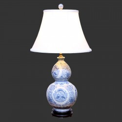 Product ID : 6967 - Category : Lighting - Product Name : Blue and White Gourd Shape Ceramic Table Lamp with Double Fish and Flower Pattern