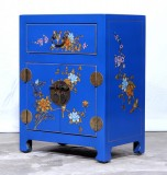 Product ID : 7043 - Category : Small Cabinet - Product Name : Blue Leather Wrapped Bedside Cabinet