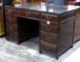 Product ID : 6118 - Category : Sideboard-Long - Product Name : Chinese Style Elm Wood Study Desk with 9 Drawer and Glass Top