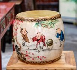 Product ID : 6761 - Category : Other Decor - Product Name : Wooden Double Side Leather Drum with Children Painting