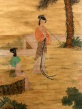 Product ID : 6336 - Category : Painting - Product Name : Vintage Chinese Original Water Ink Hand Painting Scroll The Lady