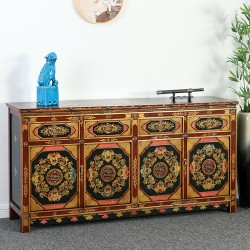Product ID : 7119 - Category : Sideboard-Long - Product Name : Tibetan Style Lacquer Painted Long Sideboard