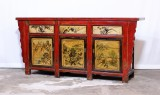 Product ID : 6923 - Category : Long Sideboard - Product Name : Vintage Chinese Shanxi Province Lacquer Painted Sideboard Cabinet