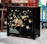 Product ID : 6646 - Category : Sideboard - Product Name : Chinese Black Lacquer Painted Cabinet 2 Drawer 2 Door