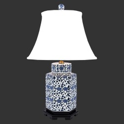 Product ID : 6211 - Category : Lighting - Product Name : Chinese Style Blue and White Hexagon Shape Flower Pattern Ceramic Table Lamp