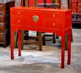 Product ID : 6468 - Category : Console Table - Product Name : Red Lacquer Chinese Style Hallway Console Table 4 Drawer 2 Door