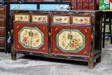 Product ID : 6804 - Category : Sideboard - Product Name : Vintage Chinese Lacquer Painted Sideboard with Flowers and Birds Painting 4 Drawers 4 Doors