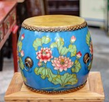Product ID : 6758 - Category : Other Decor - Product Name : Wooden Double Side Leather Drum with Lotus Painting