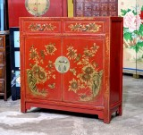 Product ID : 6883 - Category : Sideboard - Product Name : Chinese Red Lacquer Gold Painted Side Cabinet