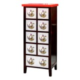 Product ID : 6540 - Category : Sideboard - Product Name : Black and White Leather Wrap Side Cabinet with 9 Drawer and Red Top