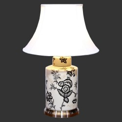 Product ID : 6968 - Category : Lighting - Product Name : Ceramic Table Lamp with Black Flower Pattern