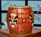 Product ID : 6832 - Category : Other Decor - Product Name : Wooden Double Side Leather Drum with Chinese Opera Face