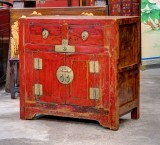 Product ID : 6685 - Category : Side Cabinet - Product Name : Vintage Chinese Red Lacquer Side Cabinet