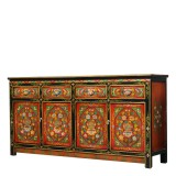 Product ID : 7116 - Category : Sideboard-Long - Product Name : Tibetan Style Lacquer Painted Long Sideboard with 4 Drawers and 4 Doors