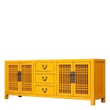 Product ID : 7152 - Category : TV Cabinet - Product Name : Chinese Style Yellow Lacquer TV Cabinet with 4 Doors and 3 Drawers