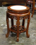 Product ID : 6081 - Category : Chair - Product Name : Chinese Style Wooden Low Pot Stand or Stool with Stone Top 5 Legs