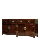 Product ID : 6915 - Category : Sideboard - Product Name : Chinese Style Elm Wood Dark Brown Sideboard with Brass Metal Plate Decor