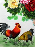 Product ID : 6344 - Category : Painting - Product Name : Chinese Water Ink Painting Scroll The Chicken and Flower