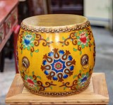 Product ID : 6757 - Category : Other Decor - Product Name : Wooden Double Side Leather Drum with Tibetan Painting