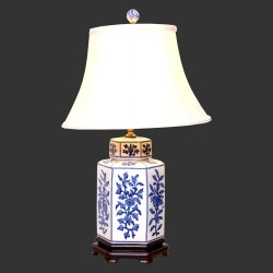 Product ID : 6951 - Category : Lighting - Product Name : Blue and White Ceramic Table Lamp with Flower Pattern