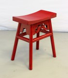 Product ID : 6018 - Category : Chair - Product Name : Chinese Style Red Lacquer Stool with Butterfly Carving