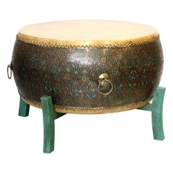 Product ID : 6236 - Category : Coffee Table - Product Name : Chinese Green Lacquer Gold Pattern Double Sided Cowhide Leather Drum