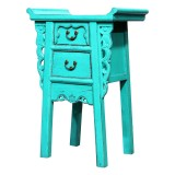 Product ID : 6979 - Category : Small Cabinet - Product Name : Chinese Altar Style Aqua Blue Lacquer Painted Small Site Table with 2 Drawers