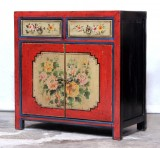 Product ID : 7064 - Category : Sideboard - Product Name : Chinese Red and Yellow Lacquer Painted Side Cabinet 2 Drawers 2 Doors