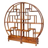 Product ID : 6658 - Category : Shelf - Product Name : Chinese Style Circular Curio and Bookshelf with 4 Drawer